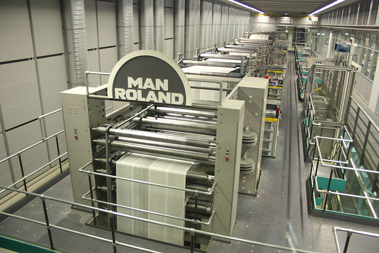 Magazine paper being printed on large web-fed presses